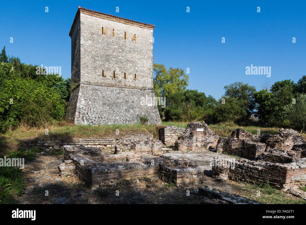 Albania.  Butrint or Buthrotum archeological site; a UNESCO World Heritage Site. The Venetian Tower. - Stock Image