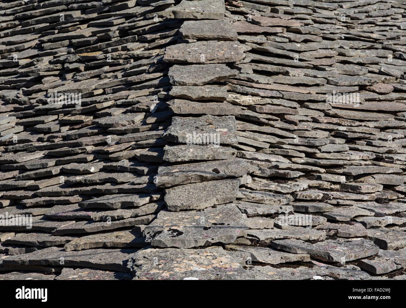 Gjirokastra or Gjirokaster, Albania. Typical stone roofs in the old town.  Gjirokastra is a UNESCO World Heritage - Stock Image