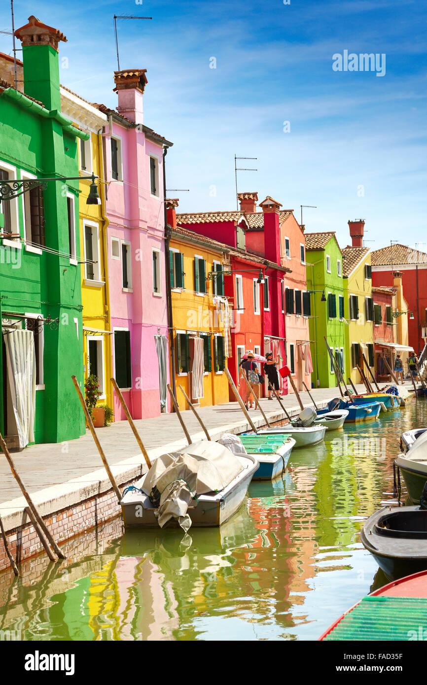 Colourful houses on Burano near Venice, Italy (Burano Lagoon Island) - Stock Image