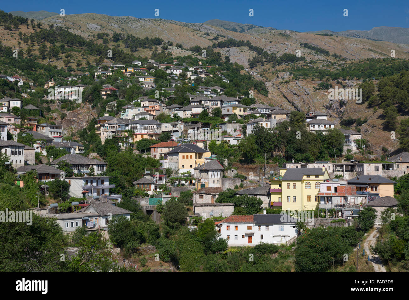 Gjirokastra or Gjirokaster, Albania.  Typical traditional property on edge of old town. - Stock Image