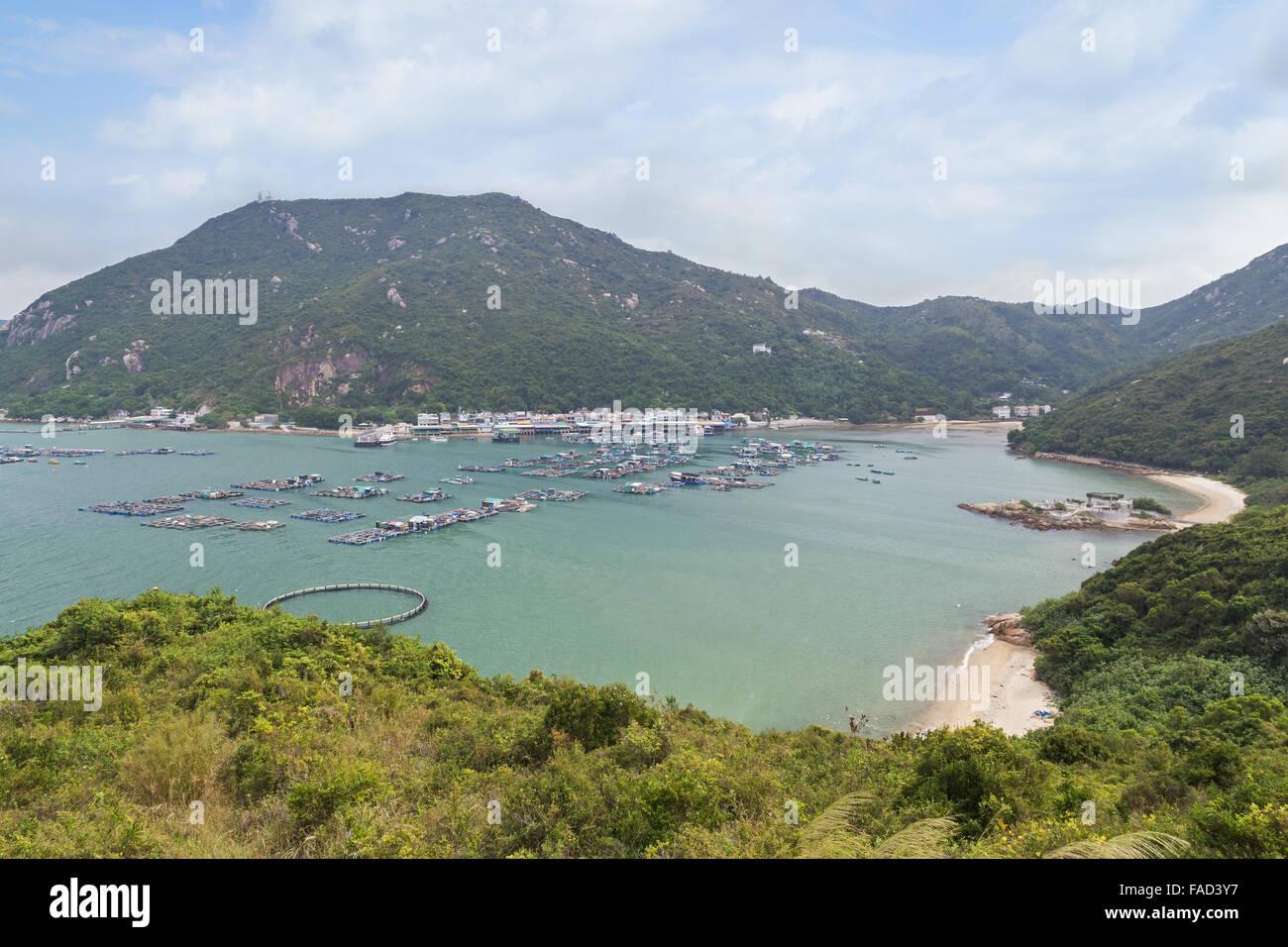 View of Sok Kwu Wan fisher village at the Lamma Island in Hong Kong, China. - Stock Image