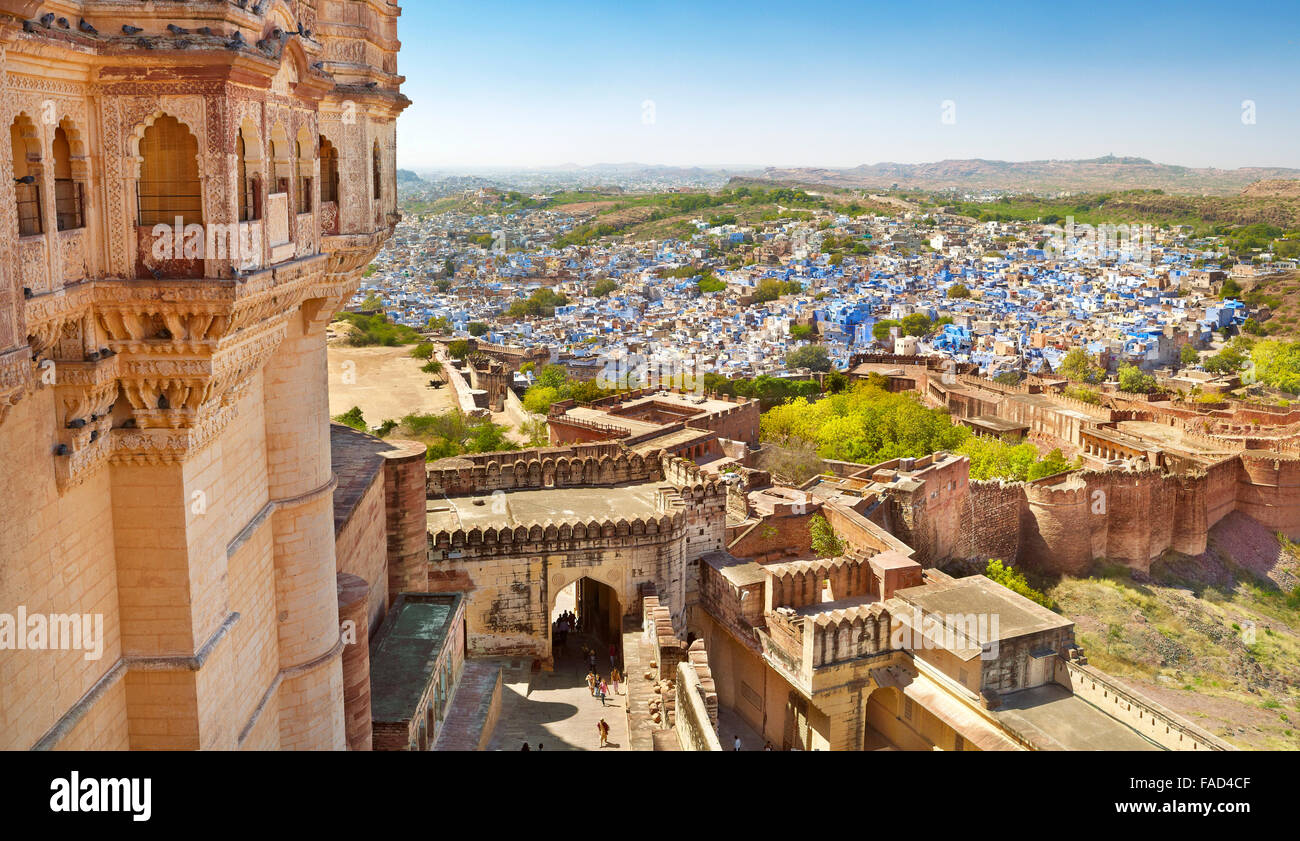 Aerial view from Mehrangarh Fort to Jodhpur, the Blue City of Rajasthan, India - Stock Image