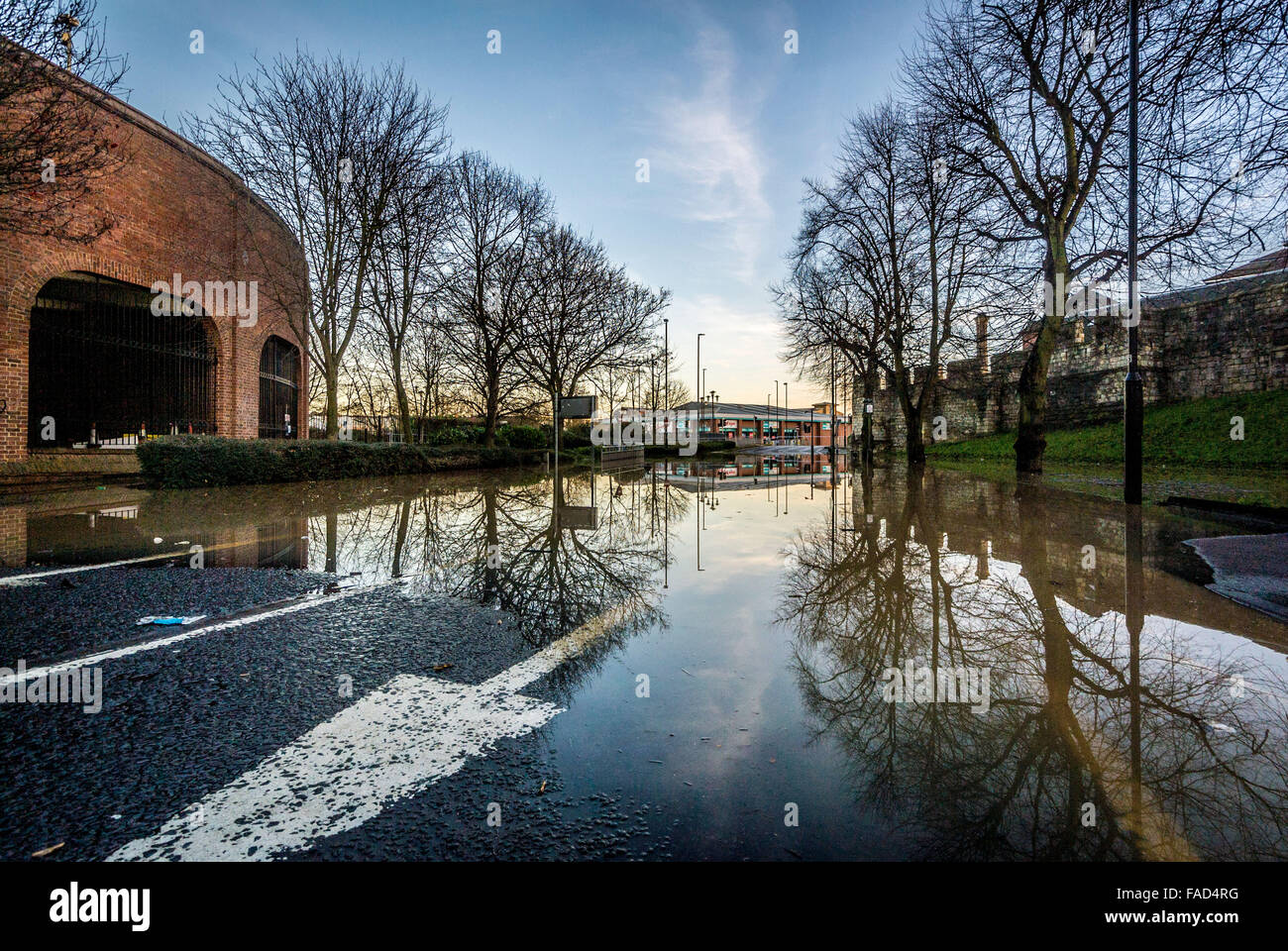 York, UK. 27th December, 2015. Widespread disruption continues in York due to flooding of the River Ouse and River - Stock Image