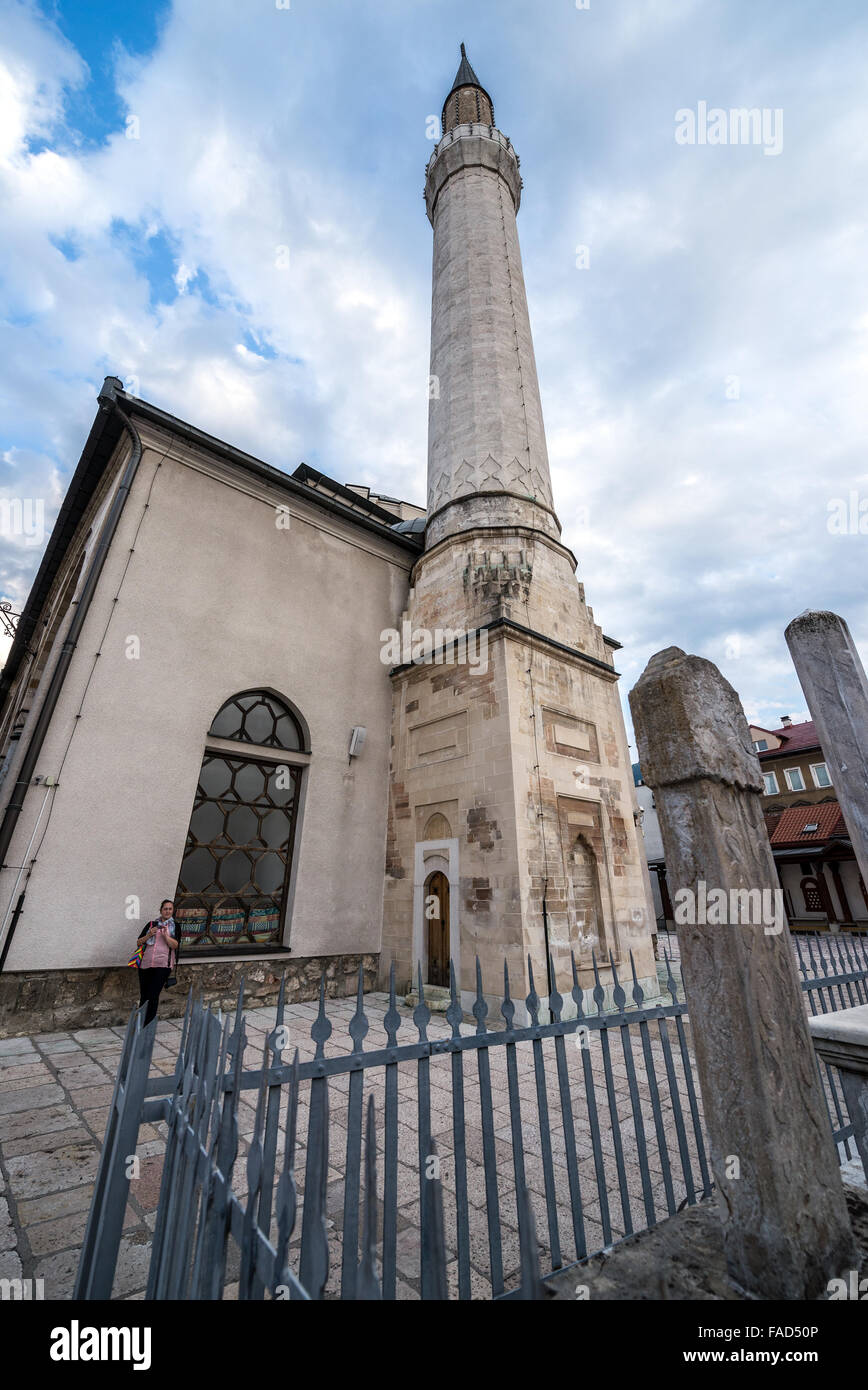 Gazi Husrev-beg Mosque in old town of Sarajevo, the largest historical mosque in Bosnia and Herzegovina Stock Photo