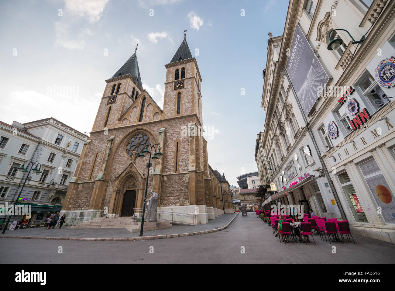 Christian Sacred Heart Cathedral or simply Sarajevo Cathedral in Sarajevo city, Bosnia and Herzegovina - Stock Image