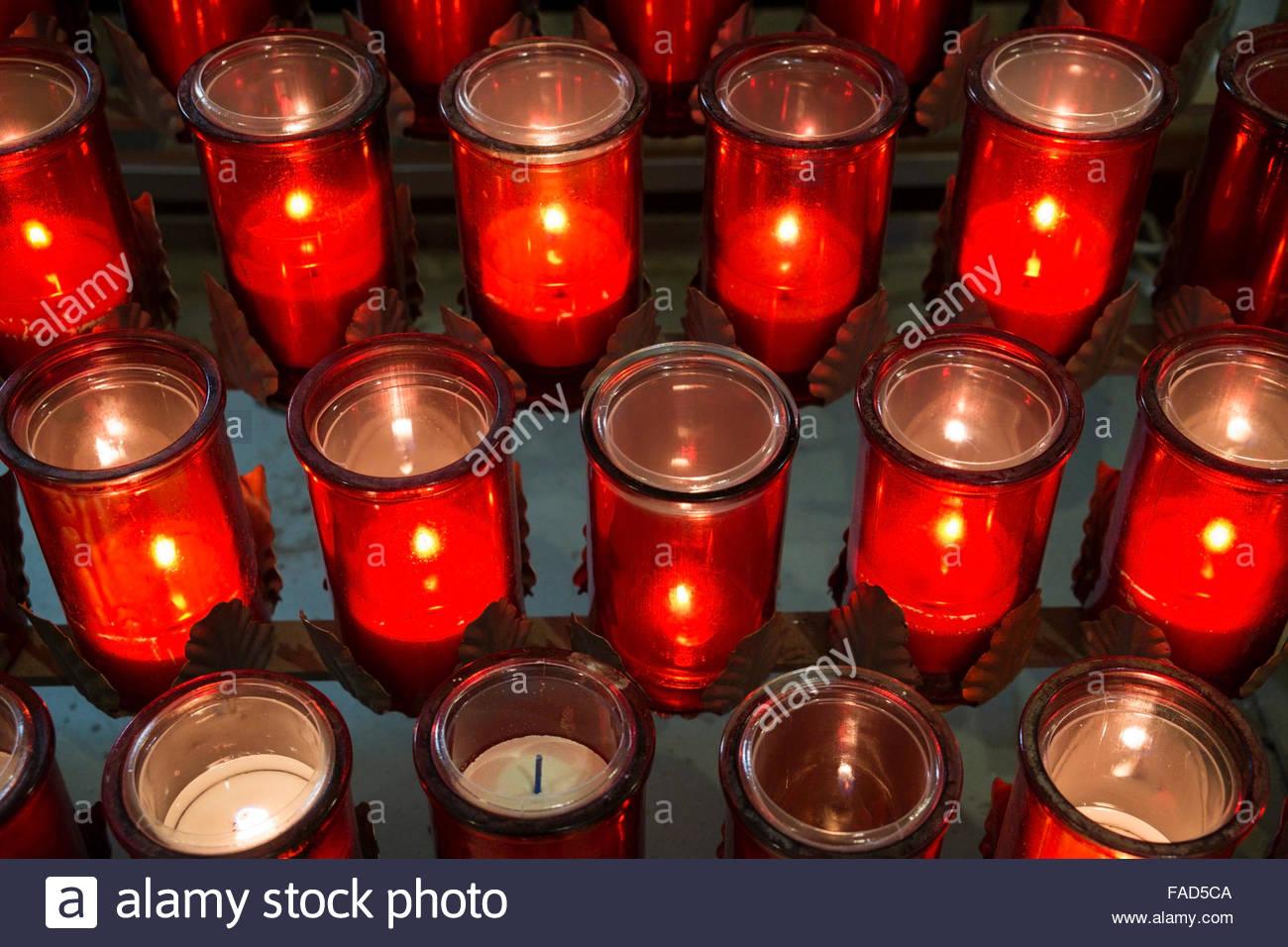 Devotion Candles Inside Église Saint-Roch Church, Quebec City, QC, Canada - Stock Image