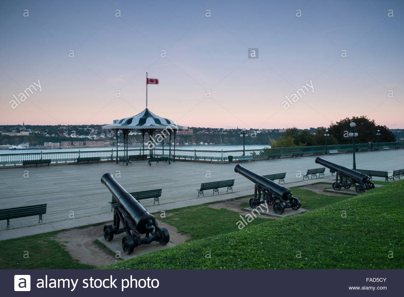 War Cannons at Upper Town Old Quebec, Quebec City, QC, Canada - Stock Image