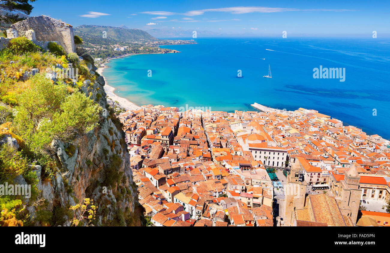 Aerial view at Cefalu from La Rocca hill, Sicily, Italy - Stock Image