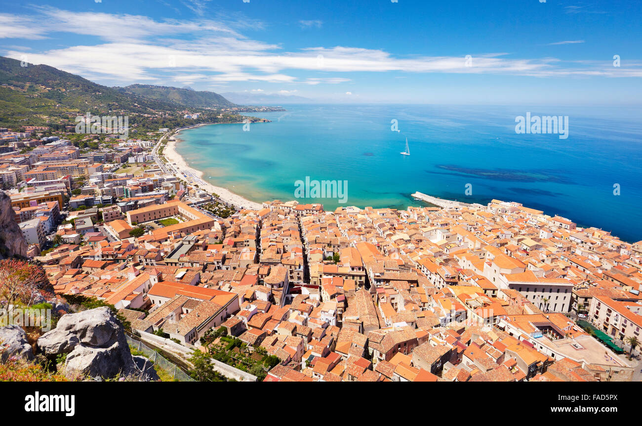 Cefalu Old Town, view from La Rocca, Sicily, Italy - Stock Image