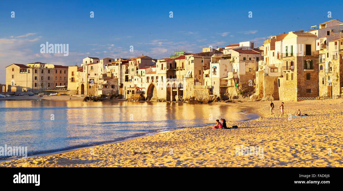 Sicily Island - Medieval houses on the seashore, Cefalu Old Town, Italy Stock Photo