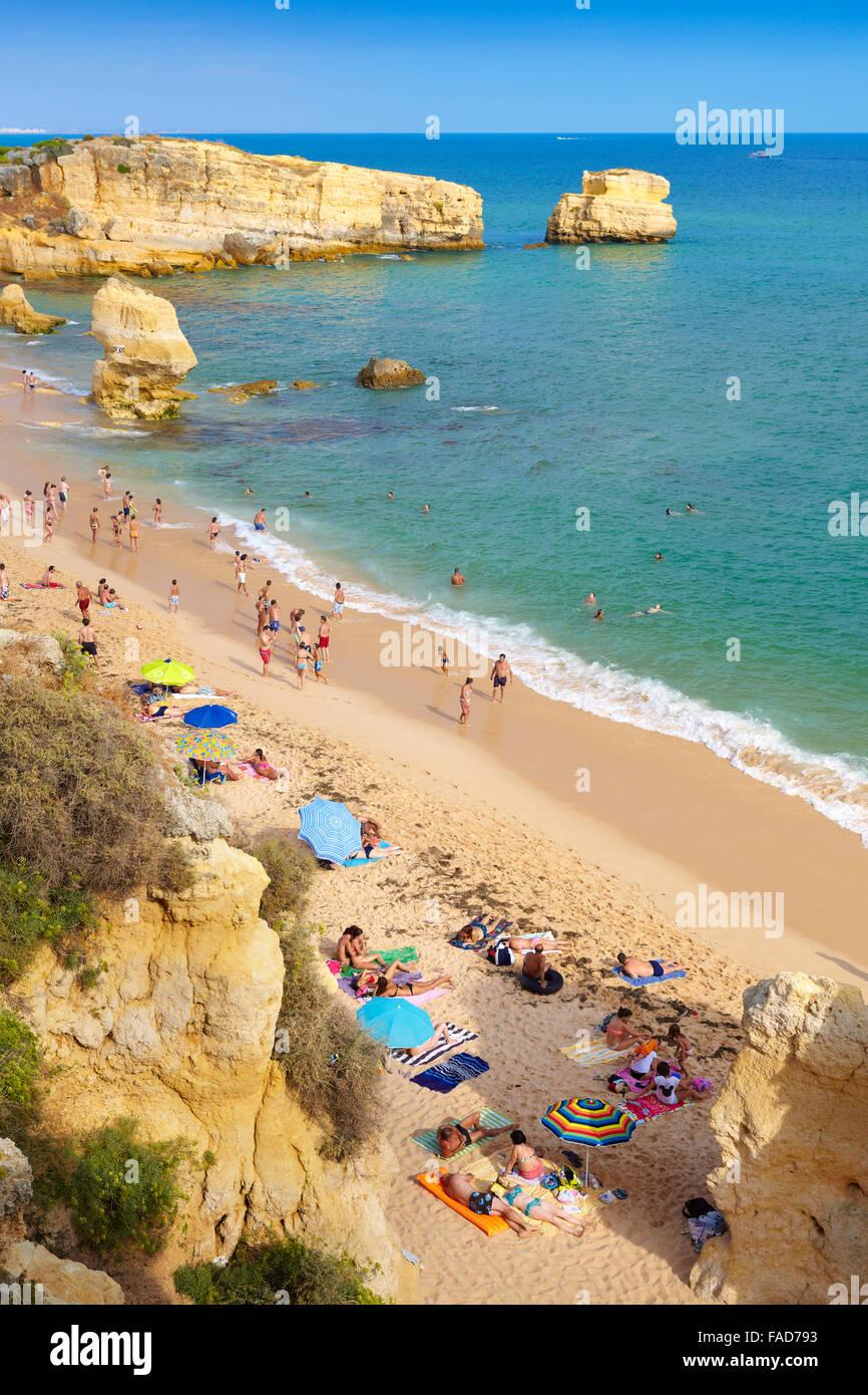 Algarve coast beach near Albufeira, Portugal - Stock Image