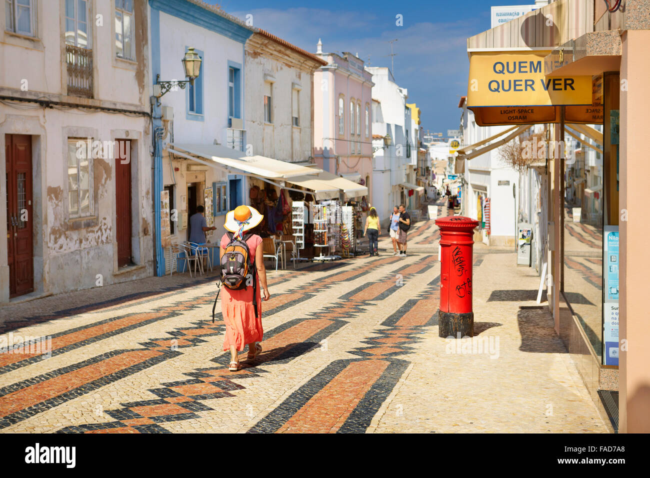 Lagos old town, Rua 25 de Abril, Lagos Municipality, Algarve, Portugal - Stock Image