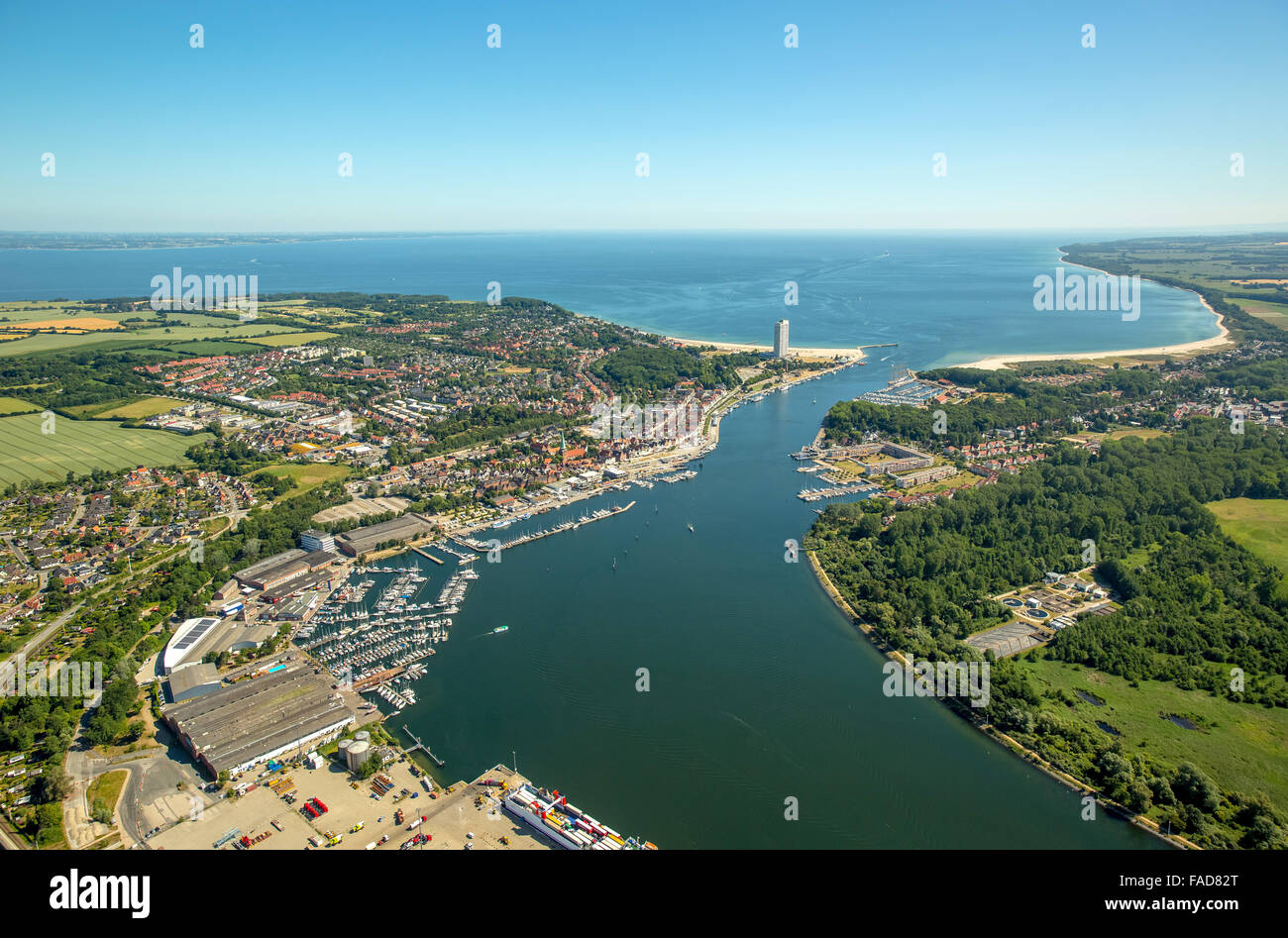 Aerial view, mouth of the Trave and Hotel Maritim, skyscraper and landmark of Travemünde, Travemünde, - Stock Image