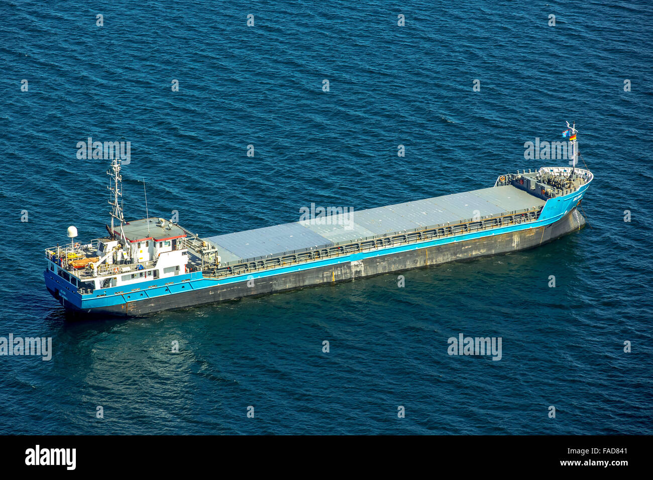 Aerial view, freighter Elise lies at anchor in the Bay of Lübeck, Baltic Sea, Bay of Lübeck, Hanseatic - Stock Image