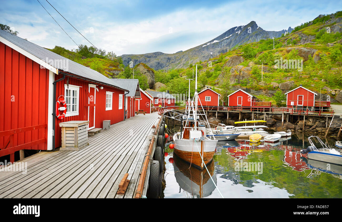 Lofoten Islands, red fishermen's huts rorbu, Nusfjord, Norway - Stock Image
