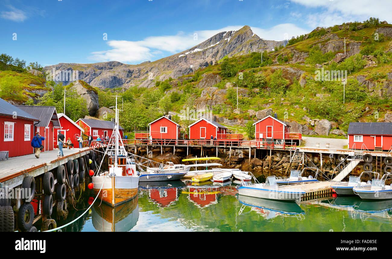 Red fishermen's houses rorbu, Nusfjord, Lofoten Islands, Norway Stock Photo