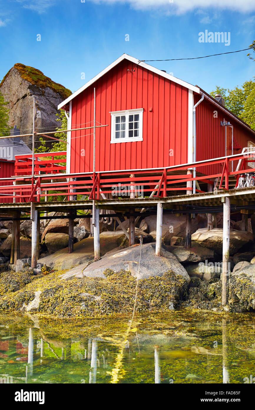 Traditional red fishermen's hut rorbu, Flakstadoy Island, Lofoten, Norway - Stock Image
