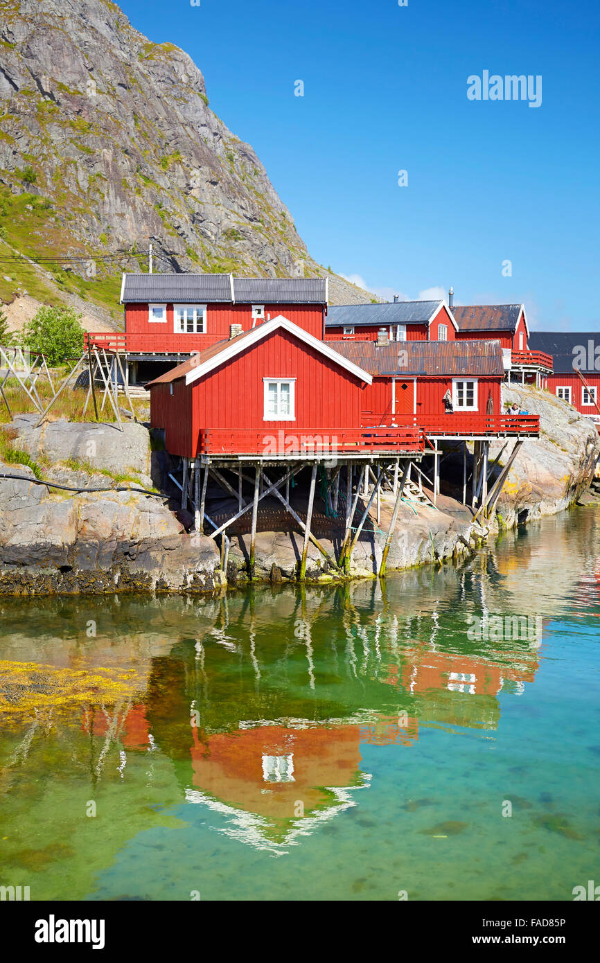 Traditional red painted rorbu houses, Lofoten Islands, Norway - Stock Image
