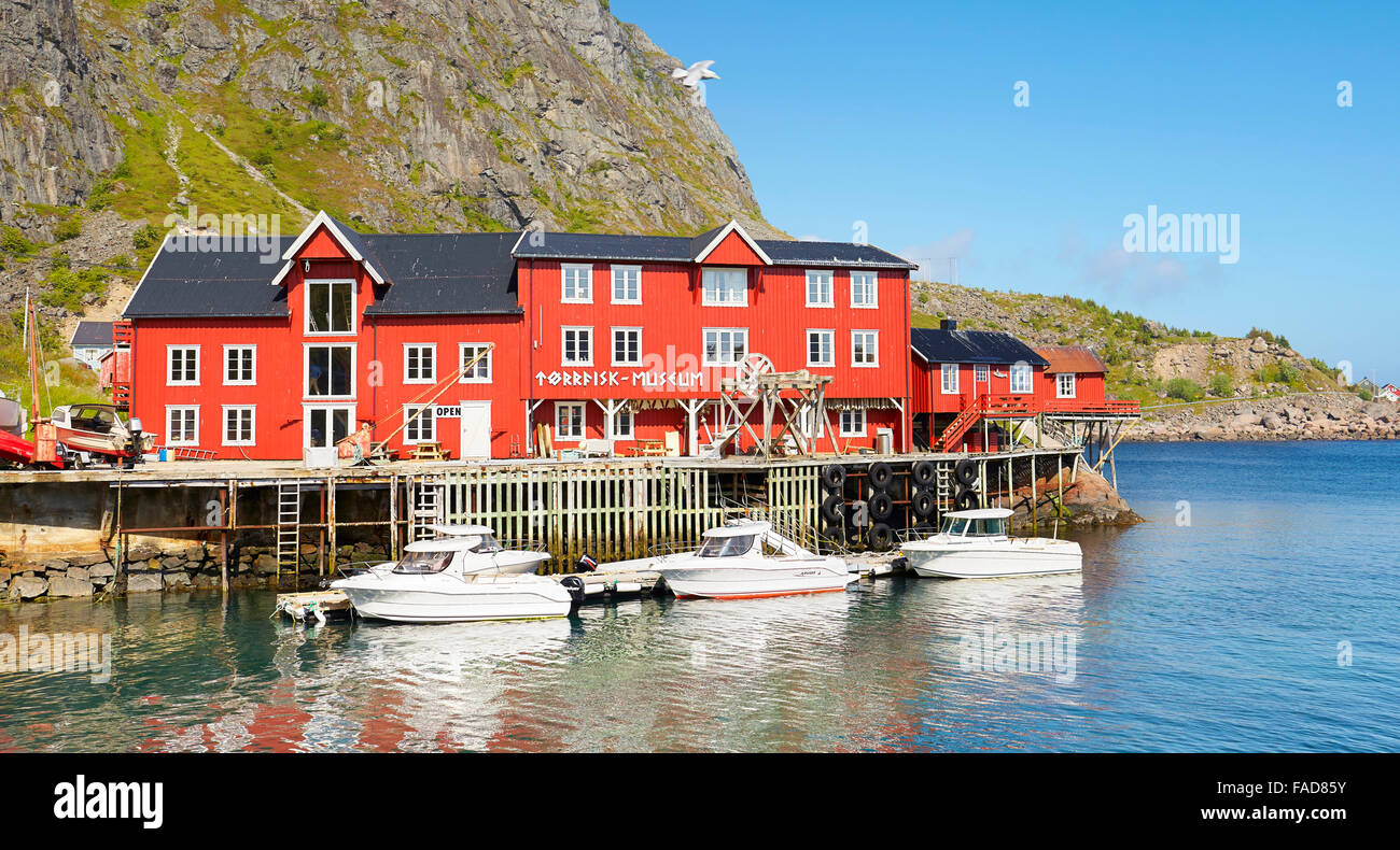 Traditional red painted houses, Lofoten Islands, Norway - Stock Image