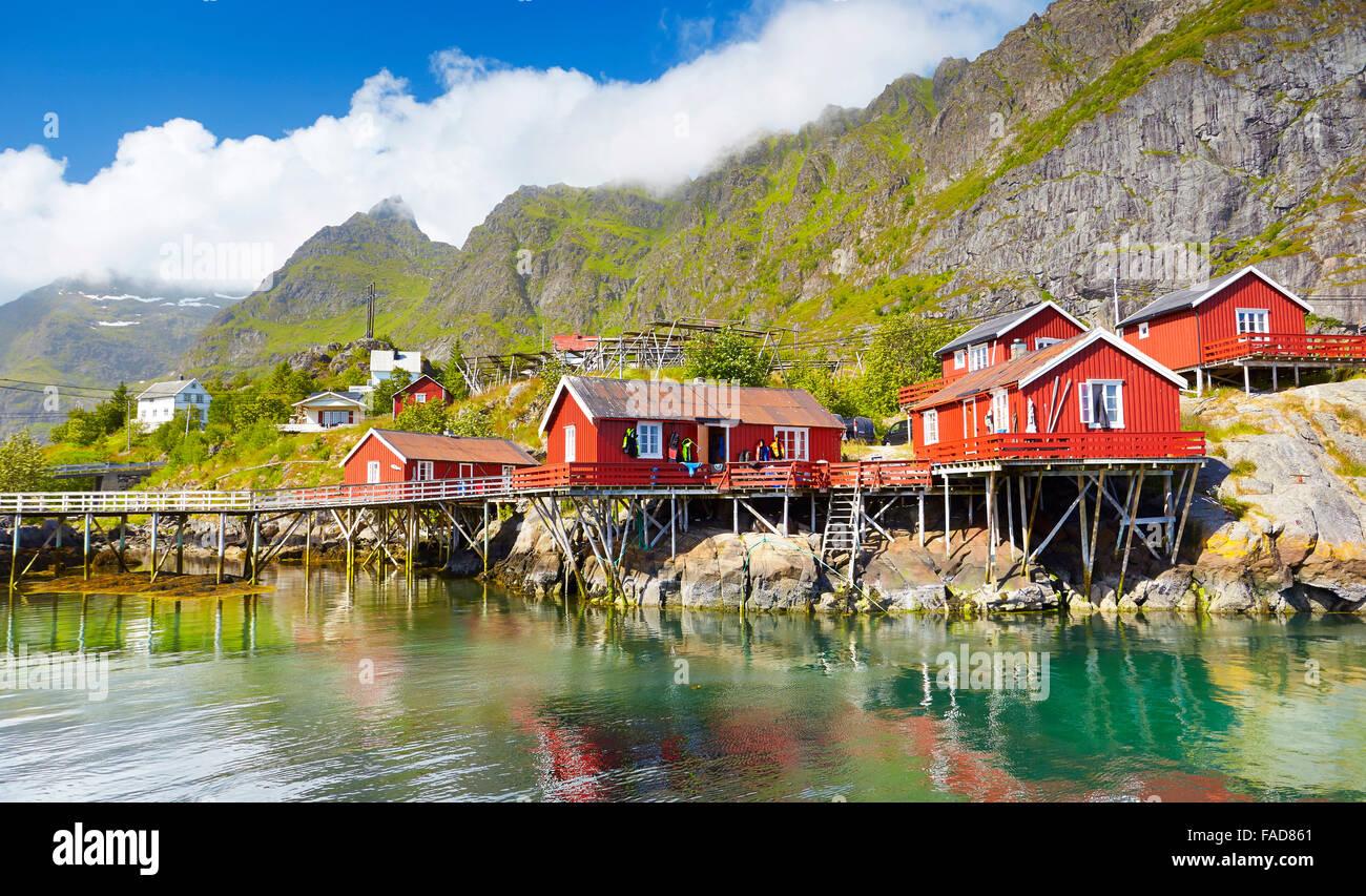 Fishermen red wooden huts rorbu, Lofoten Islands, Norway - Stock Image
