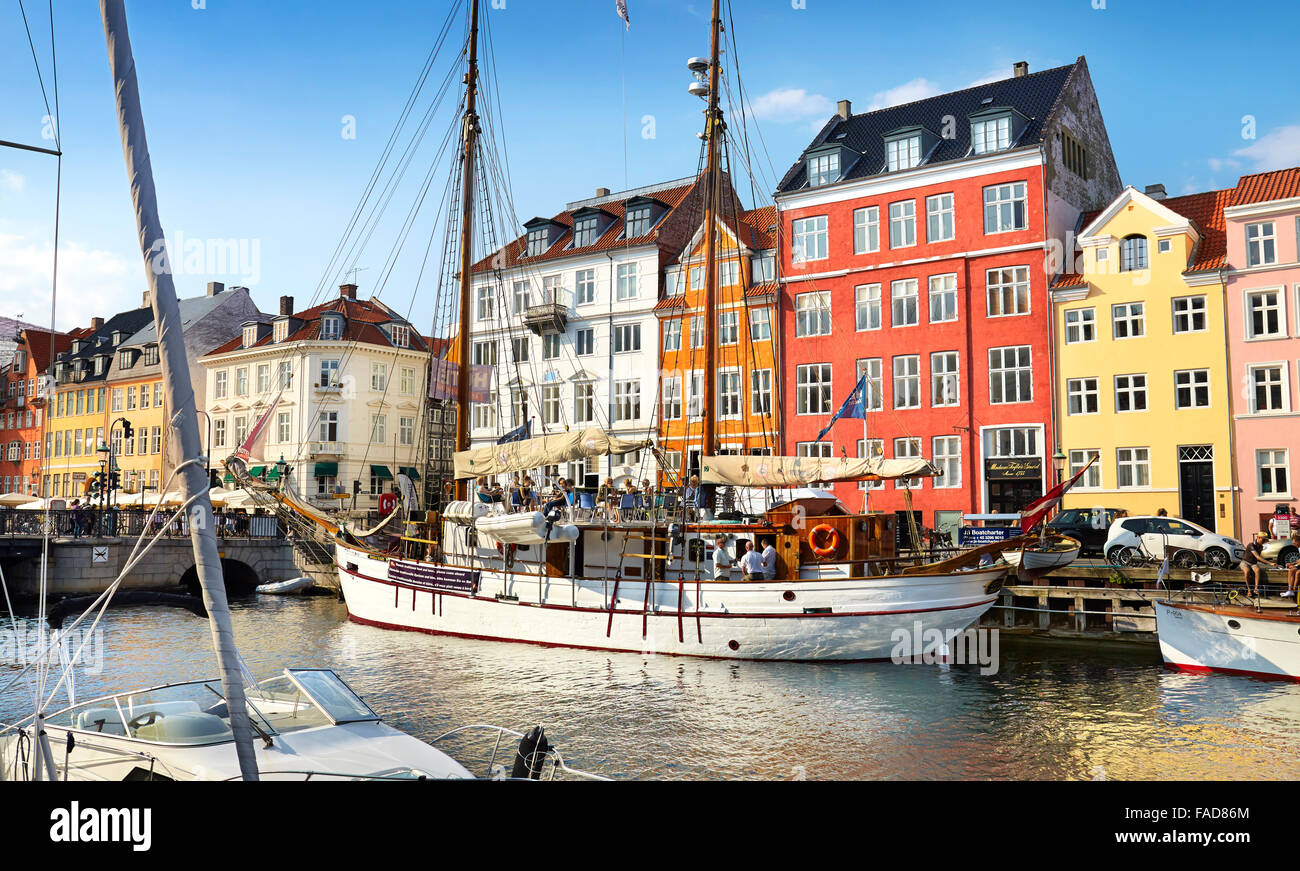 Copenhagen old town, Denmark - the ships moored in Nyhavn Canal - Stock Image