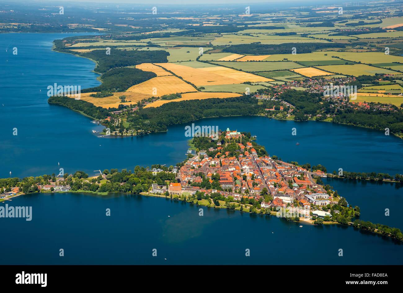 Aerial view, Peninsula, Lake Ratzeburg, Domsee, Küchensee, Ratzeburg, Lübeck Bay, Hansestadt, Schleswig-Holstein, Stock Photo