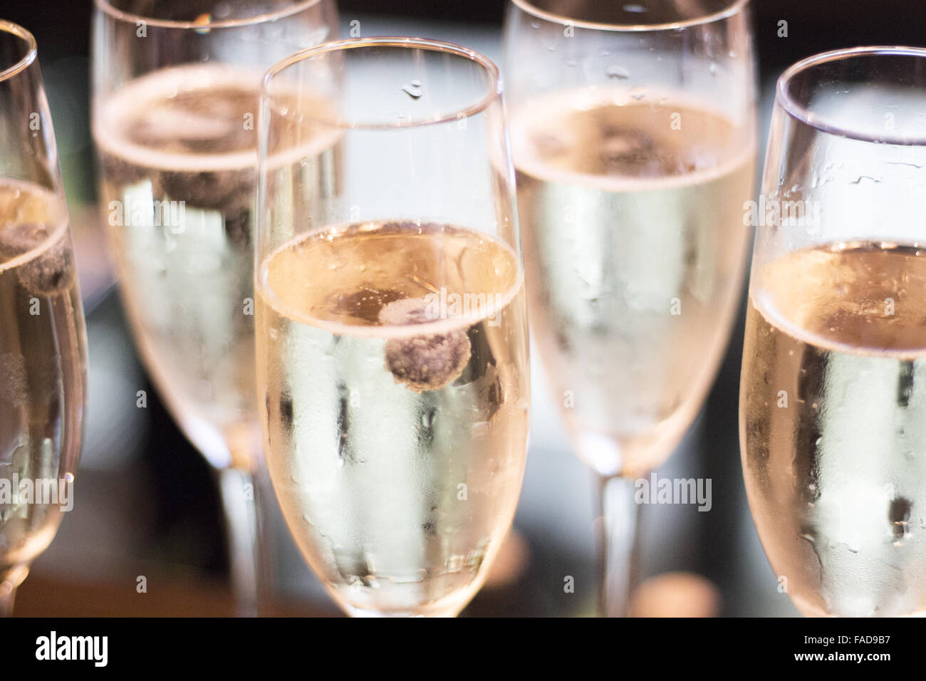 Champagne Sparkling White Wine Glasses In Restaurant Bar In Wedding Reception Party Photo