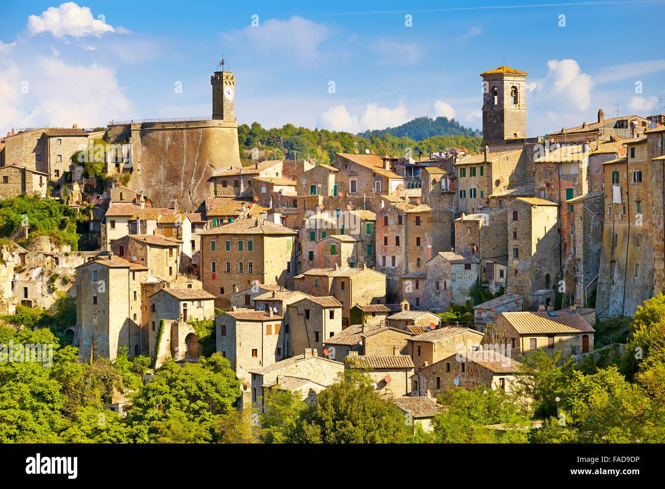 Cityscape of Sorano old town, Tuscany, Italy - Stock Image