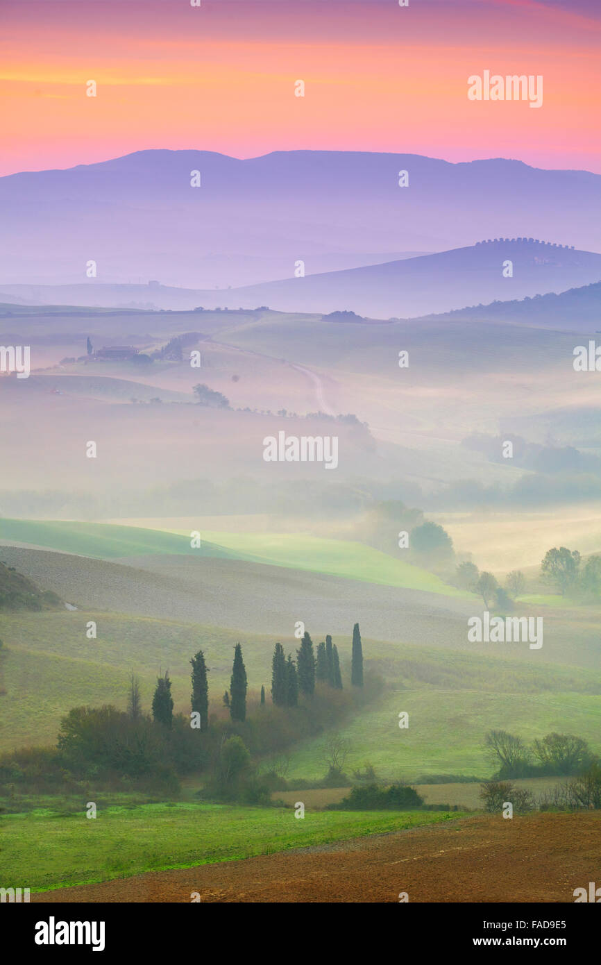 Val d'Orcia at dawn, Tuscany, Italy - Stock Image