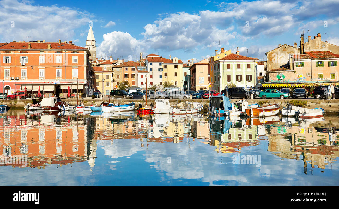 View at Harbor and old town of Izola, Slovenia - Stock Image