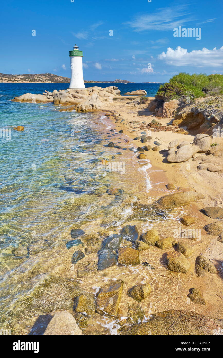 Sardinia Island - Lighthouse, Palau Beach, Italy - Stock Image