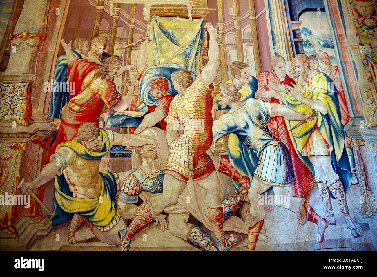 Tapestry depicting the Death of Julius Caesar in the Gallery of Tapestries in the Vatican Museum. - Stock Image