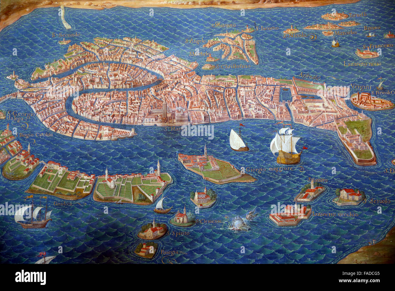 Map of Venice in the Gallery of Maps in the Vatican Museum. - Stock Image
