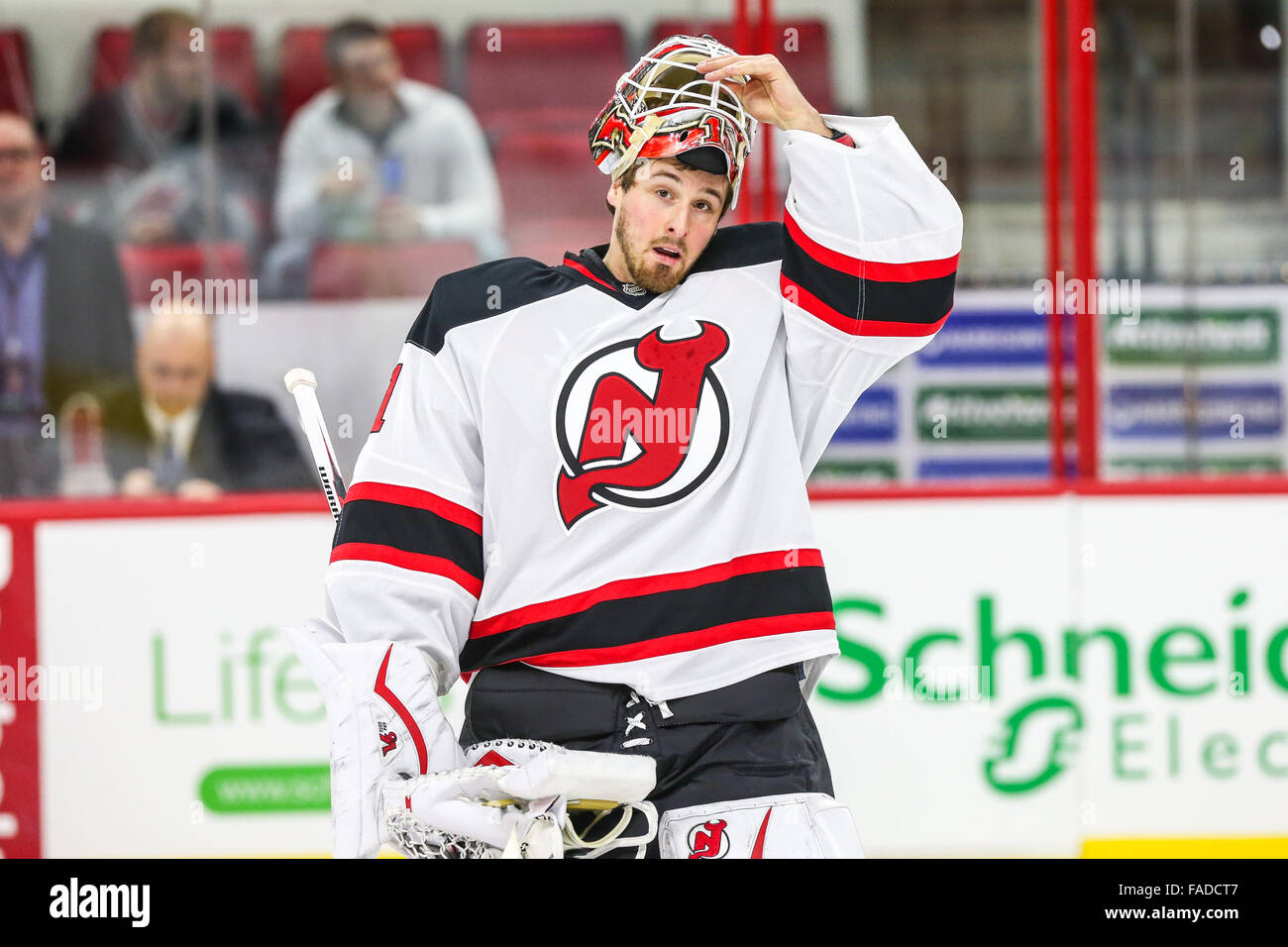 best sneakers e5f4f bf827 New Jersey Devils goalie Keith Kinkaid (1) during the NHL ...
