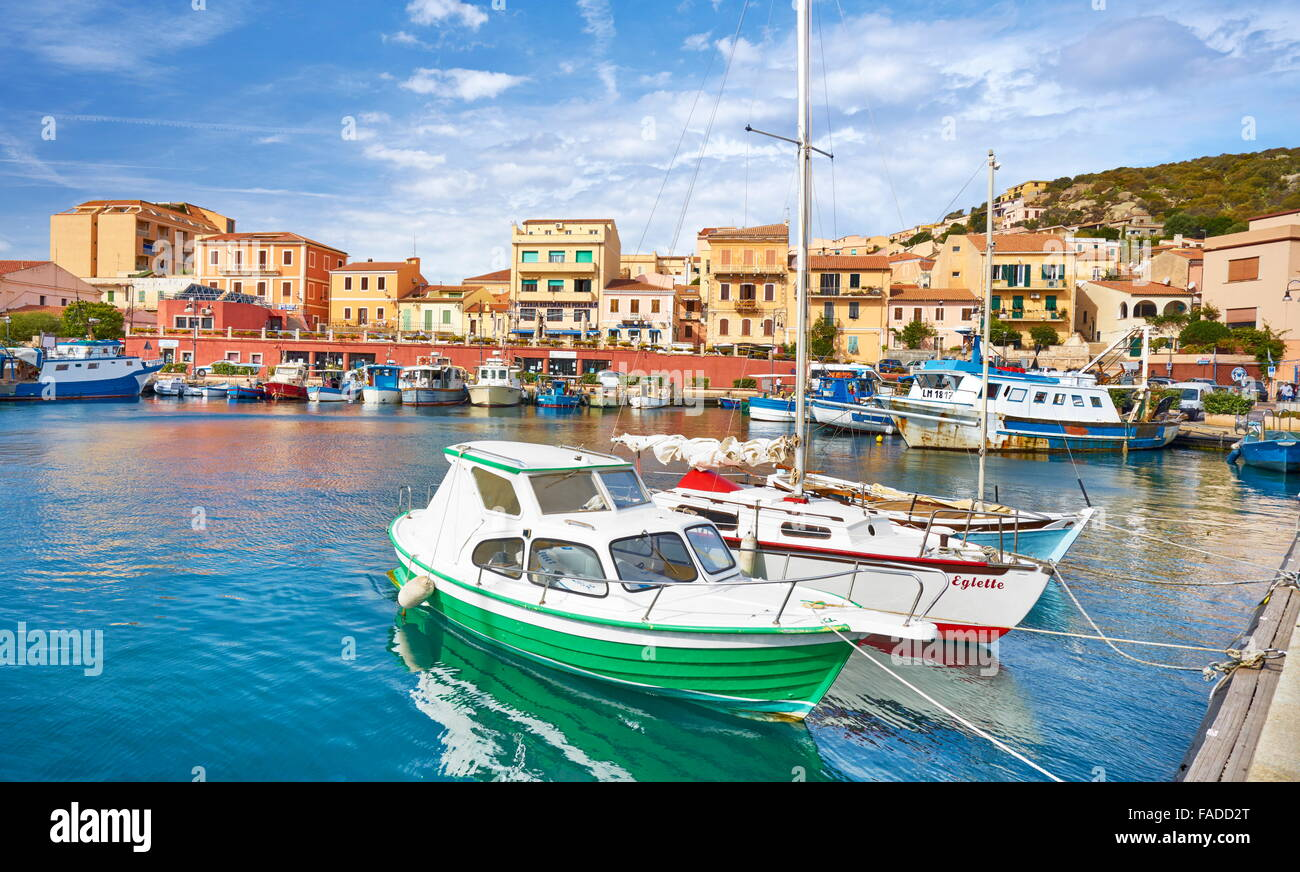 La Maddalena, view of the town and harbor, La Maddalena Island, Sardinia, Italy - Stock Image