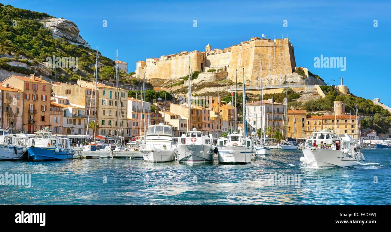 Bonifacio harbour and citadel, Corsica Island, France - Stock Image