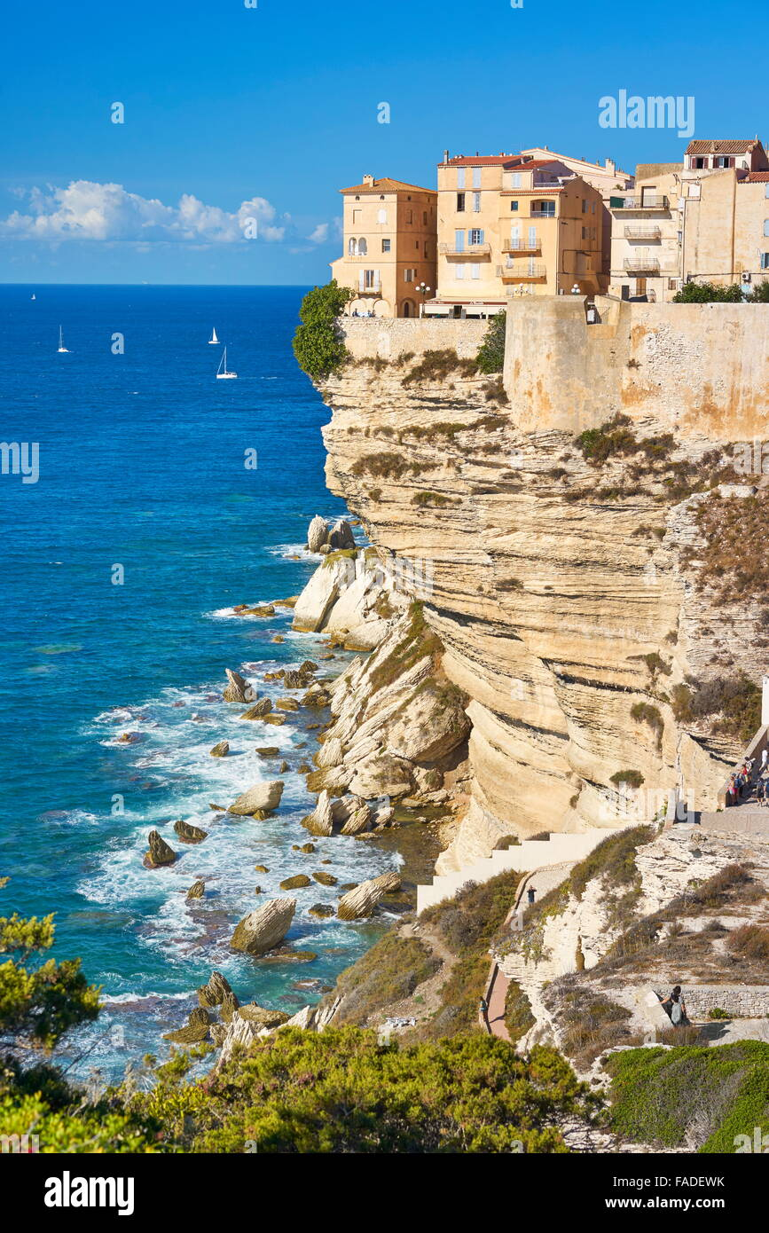 Bonifacio Old Town, Limestone Cliff, Corsica Island, France - Stock Image