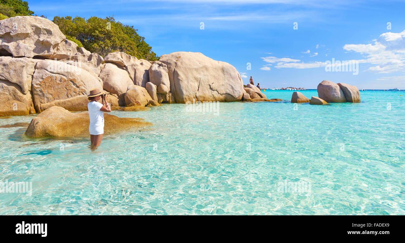 Corsica Island - Santa Giulia Beach, Porto-Vecchio, France - Stock Image
