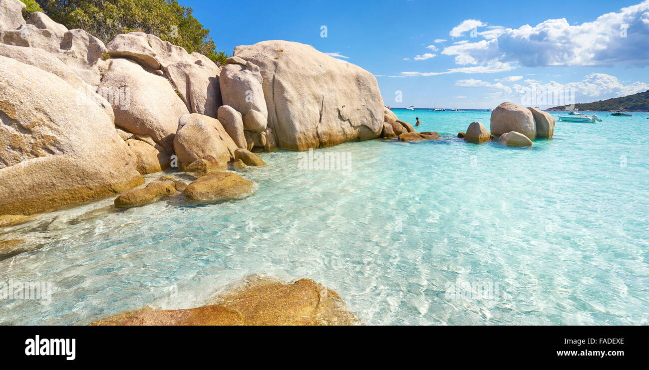 Corsica - Santa Giulia Beach, Porto-Vecchio, Corsica Island, France - Stock Image