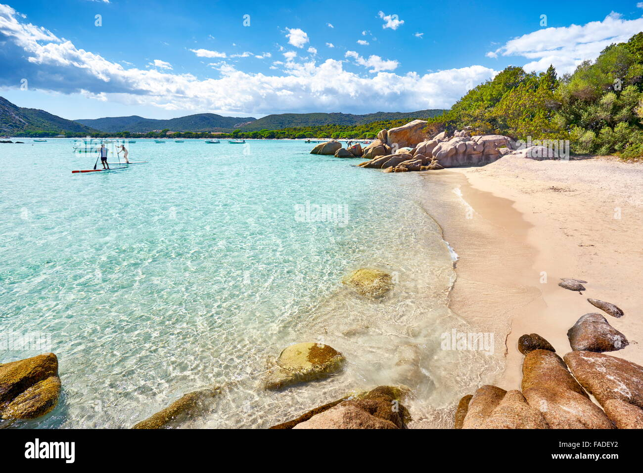 Santa Giulia Beach, Porto-Vecchio, East Coast of Corsica Island, France - Stock Image