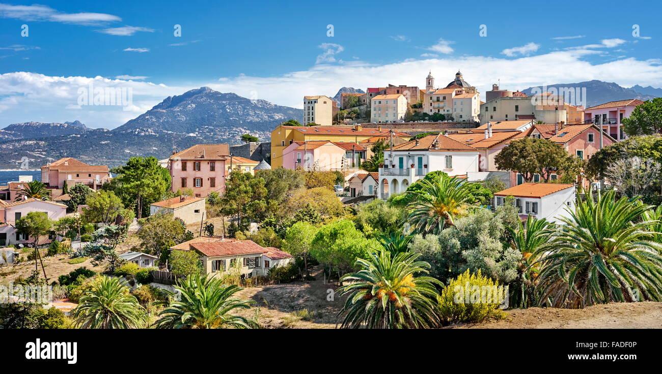 Piana Village, Les Calanches, Golfe de Porto, Corsica Island, France, UNESCO - Stock Image