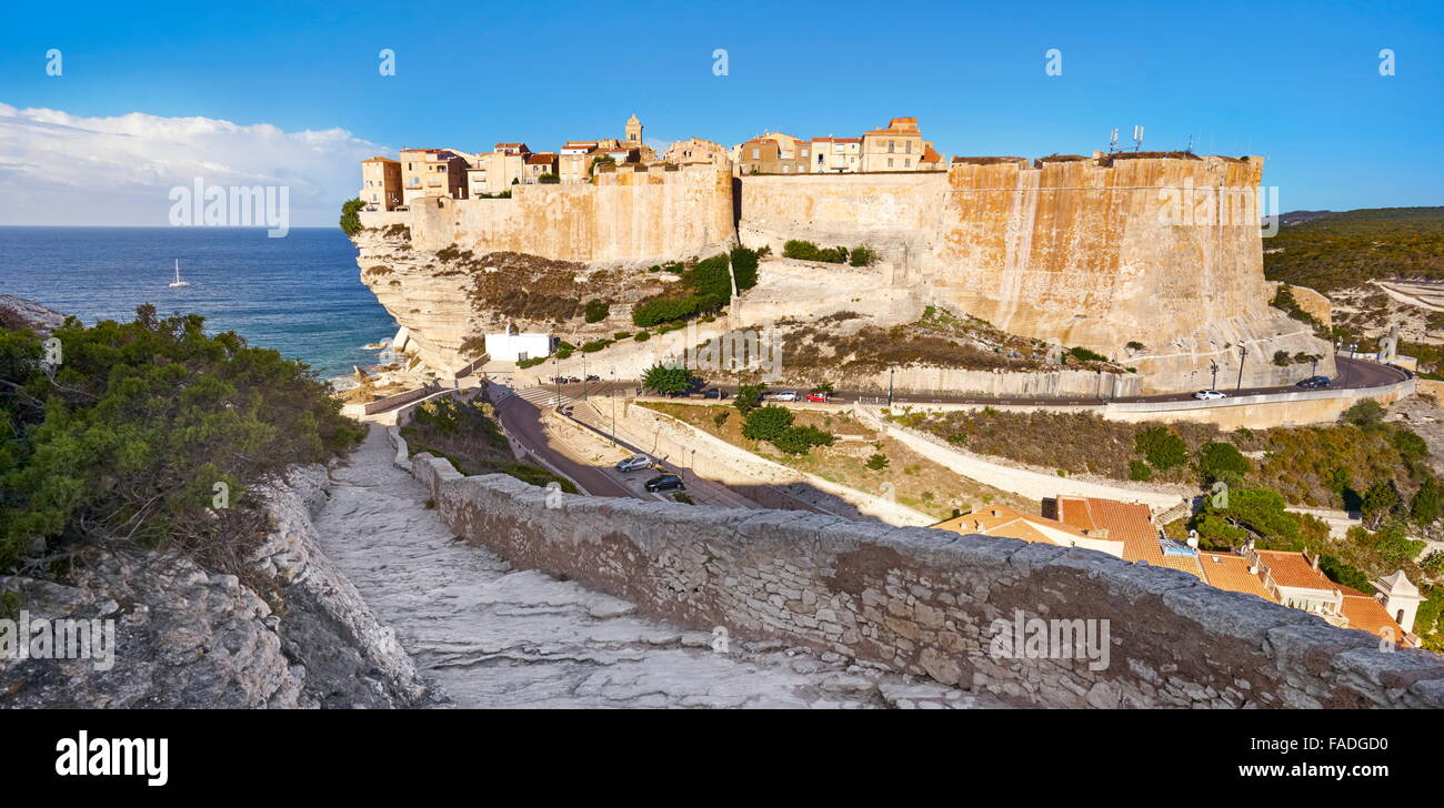 Bonifacio Citadel, South Coast of Corsica Island, France - Stock Image