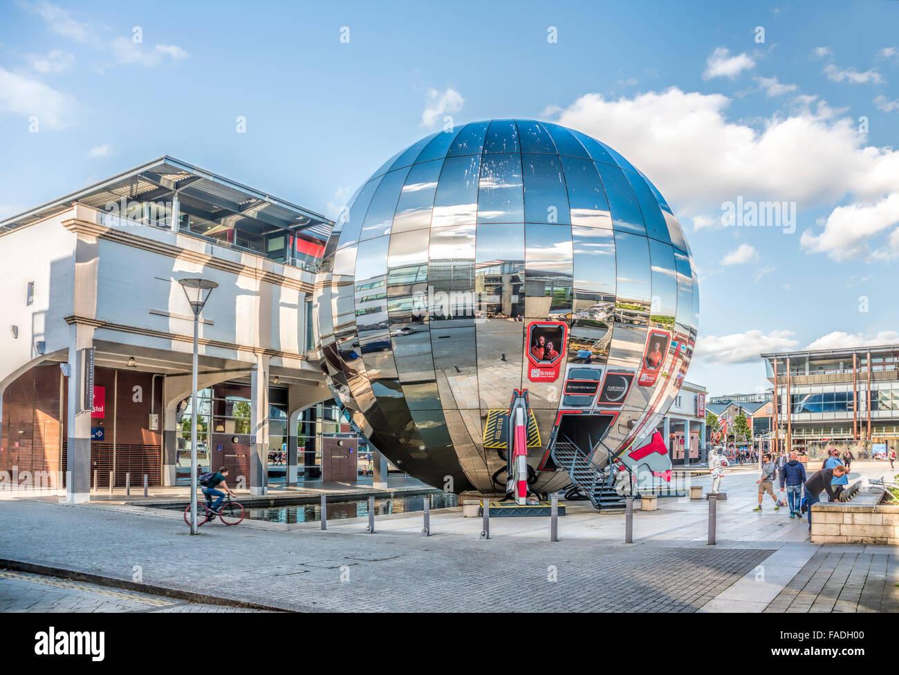Mirrored Planetarium Sphere Millenium Square in the Harbour of Bristol, Somerset, England, United Kingdom - Stock Image