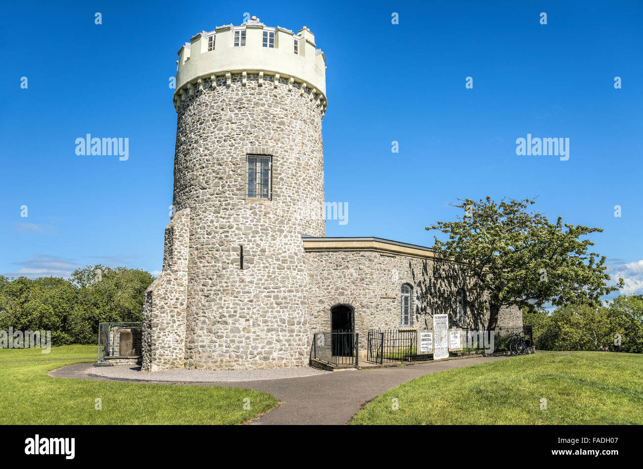 The Observatory with its Camera Obscura at the Clifton Suspension Bridge, Bristol, Somerset, England - Stock Image