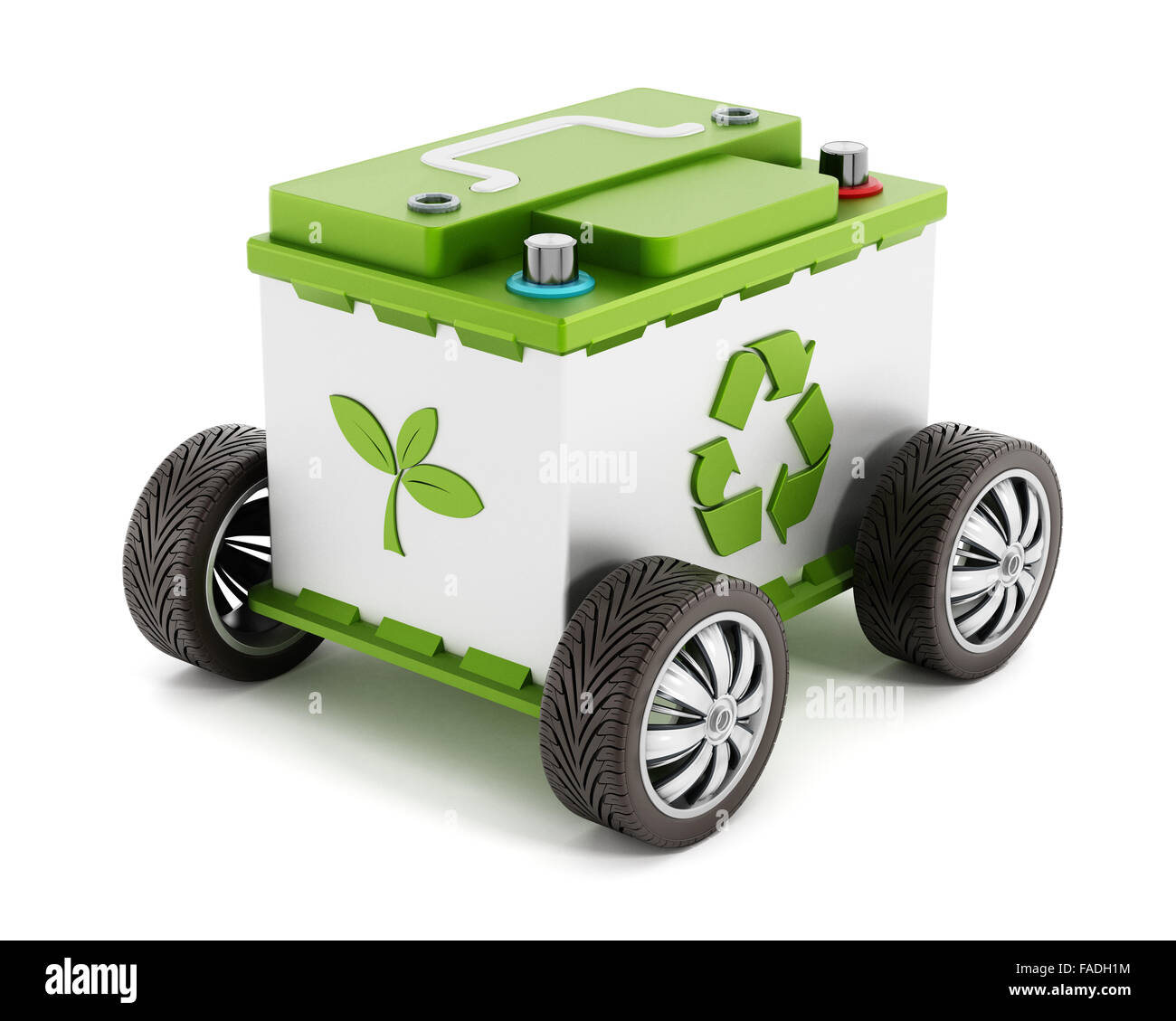 Recyclable car battery with tyres isolated on white background - Stock Image
