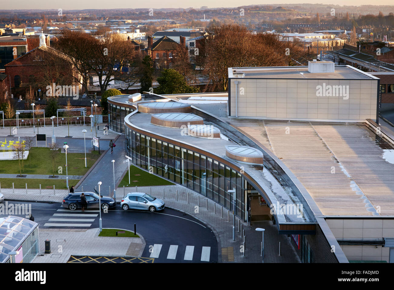 Elevated view of new Wakefield Westgate railway station with view over roof and across the city towards Sandal - Stock Image