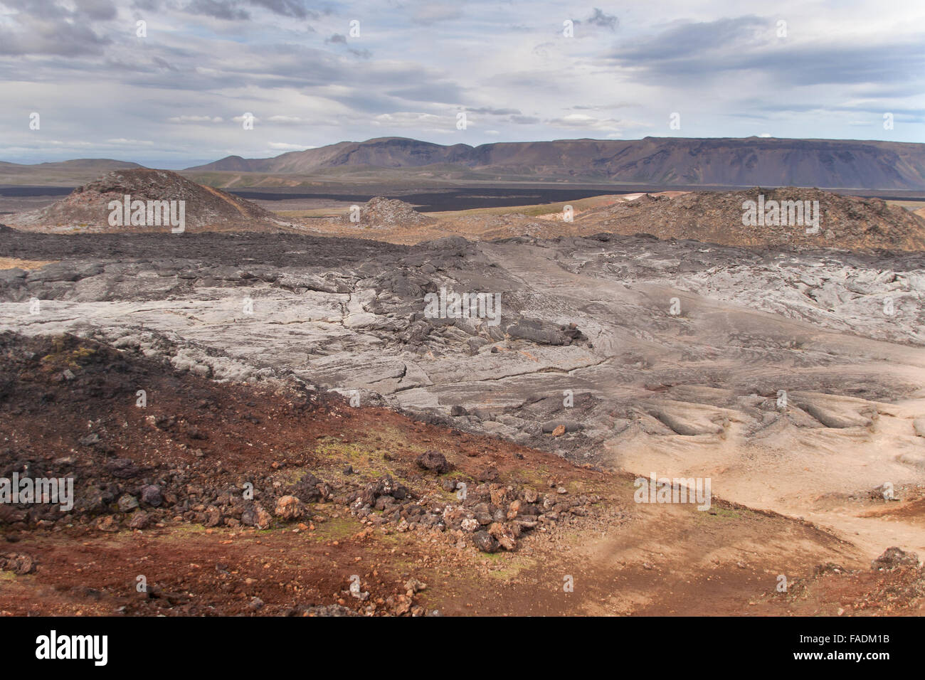 Lava field of the Krafla volcano in the north of Iceland. - Stock Image