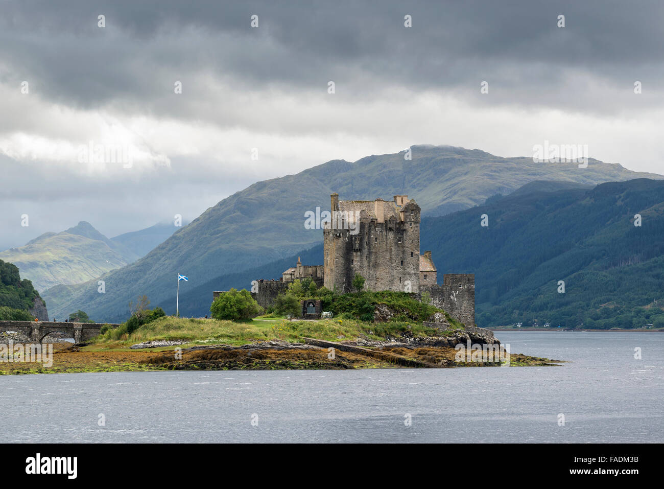 Eilean Donan Castle at Dornie, Western Ross, Scottish Highlands, Scotland, United Kingdom - Stock Image