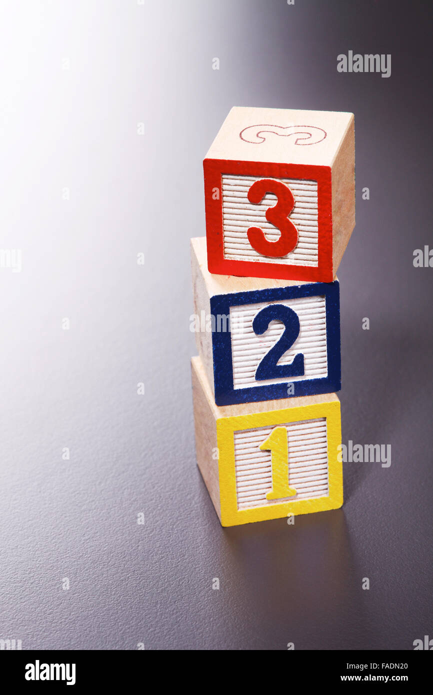 Wooden blocks cube with 123 - Stock Image
