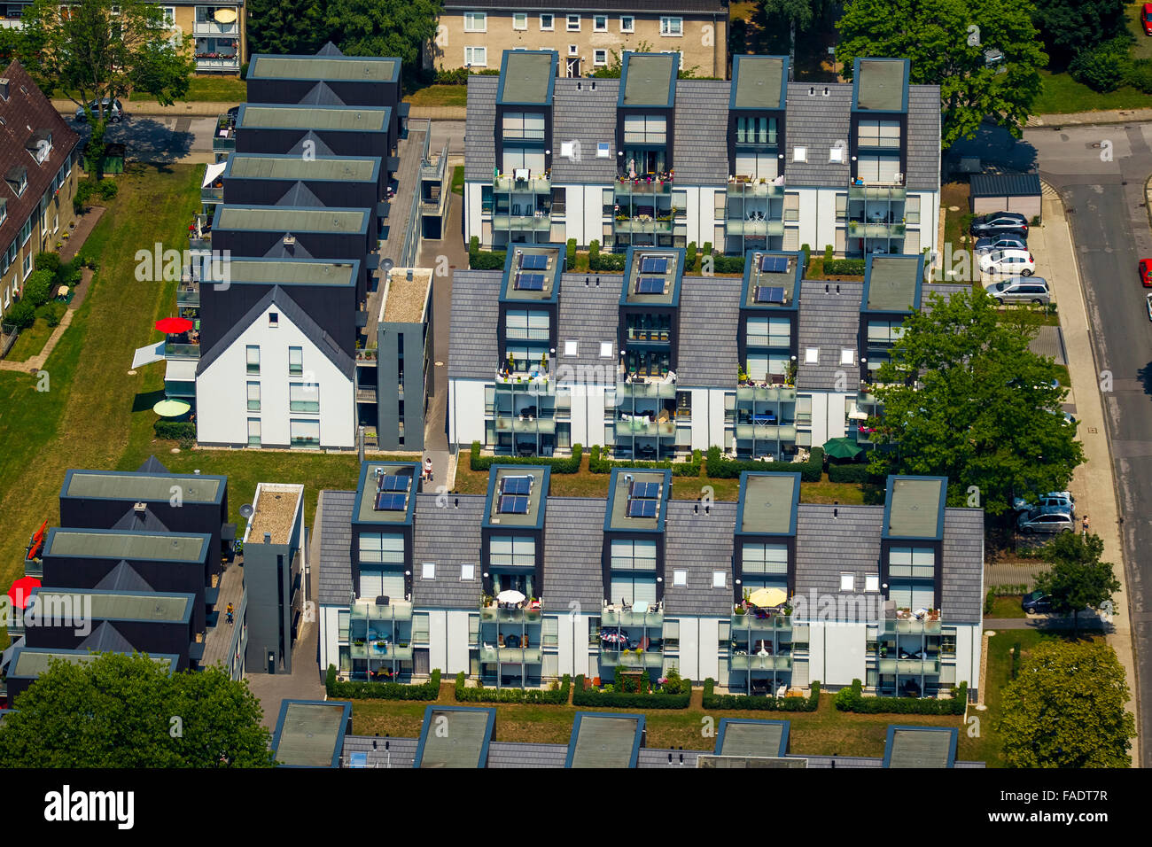 Aerial view, Better Living with sun terraces in the southern city, Hattingen, Ruhr region, North rhine westphalia, - Stock Image